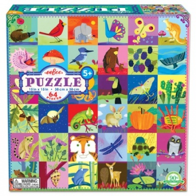 Eeboo 64 Piece Puzzle - Portraits of Nature
